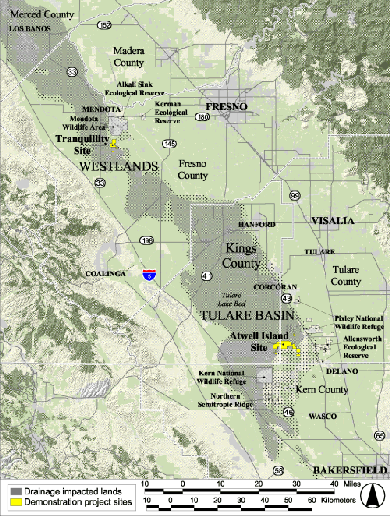 Map showing drainage impacted lands in the San Joaquin Valley and study sites